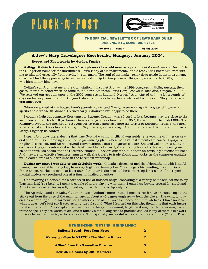 Watch Post It Notes Jews Harp Guild Newsletter Index